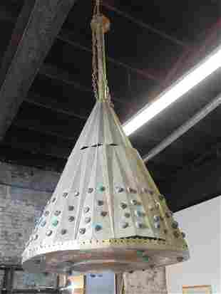 Egyptian brass hanging fixture decorated with jewels