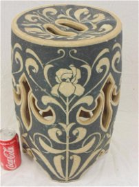 Arts and crafts pottery garden stool, by Charles Graham
