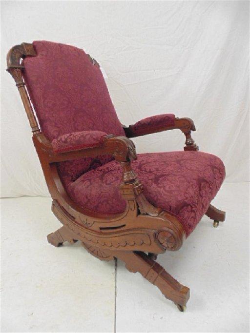 Inlaid Victorian Platform Rocker Red Upholstery Chair
