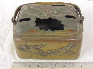 Chinese bronze hand warmer, decorated with egrets,