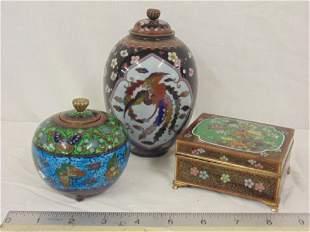 3 fine cloisonne vases & box, intricate designs, lot