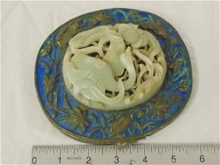 Chinese enameled bronze & Jade vanity mirror, floral