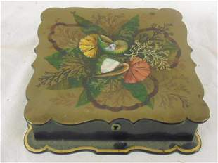 Lacquered Paper Mache Mother of Peal card box with