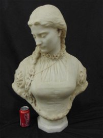 Carved marble bust, Salvatore Albano, 1879, bust