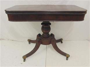 Antique game table carved mahogany Duncan Pfyfe style