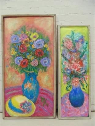 2 paintings Milton Lunin Floral stillifes flowers in