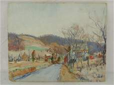 "Painting, village road, Walter Emerson Baum, ""Bucks"