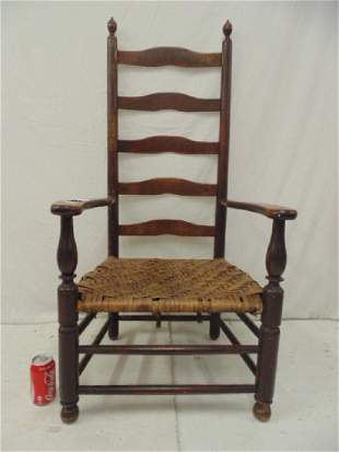 Antique ladderback country armchair woven seat