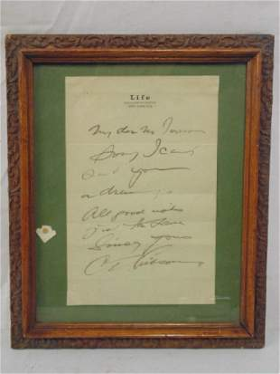 Signed note Charles Gibson on Life letterhead