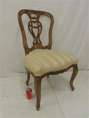 Parcel gilt Italian side chair 19th Century seat is