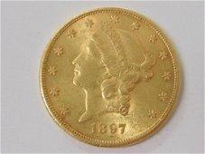 1897 $20.00 gold coin Liberty head