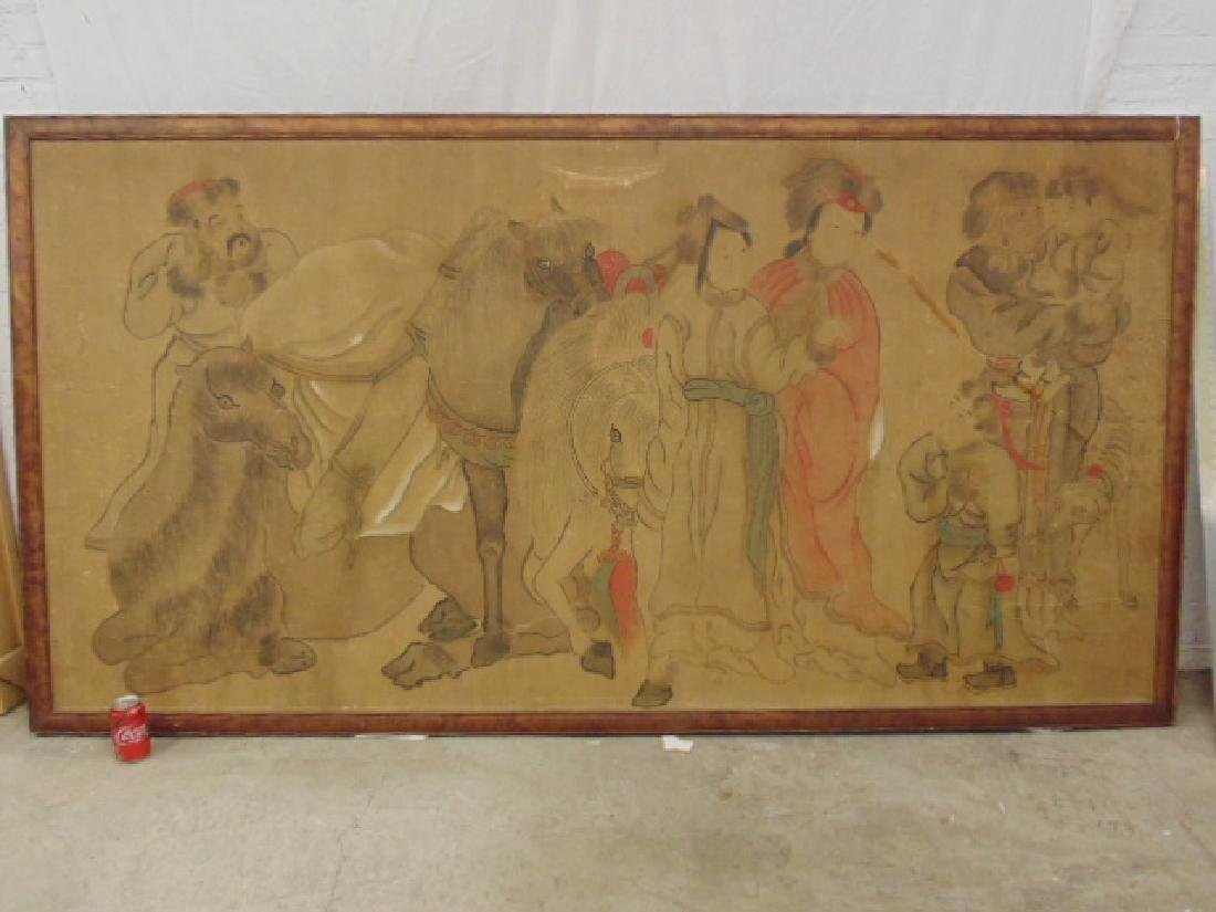 Asian mural sized painting, Chinese or Japanese,