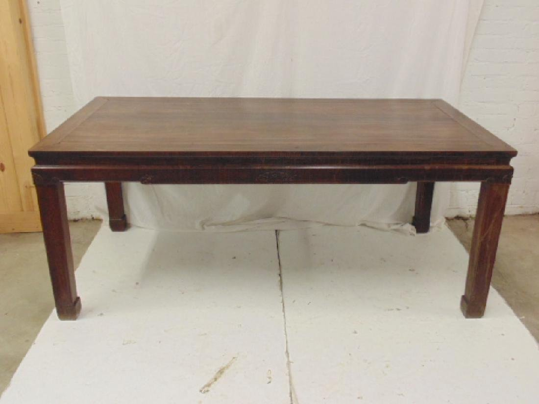 Chinese rosewood dining table, carved detail, top is