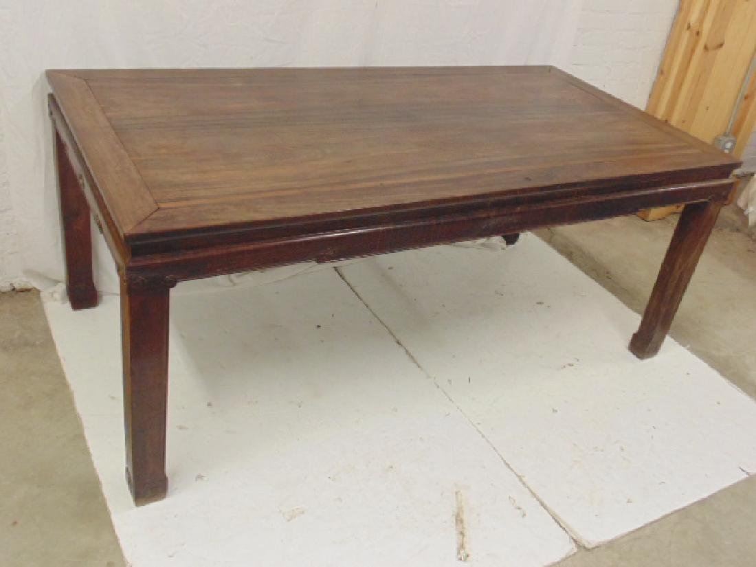 Chinese rosewood dining table, carved detail, top is - 2