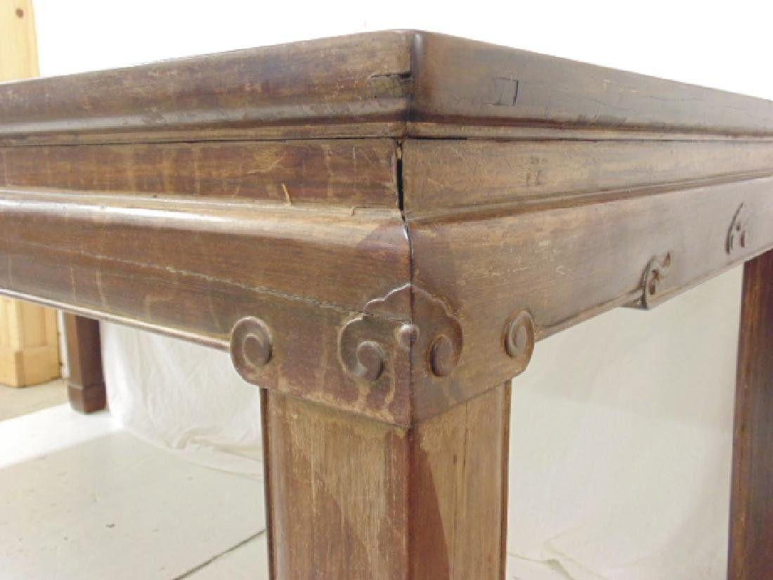 Chinese rosewood dining table, carved detail, top is - 5