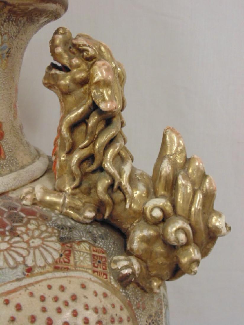 Palace sized Satsuma vase, urn with lid, foo dog finial - 8