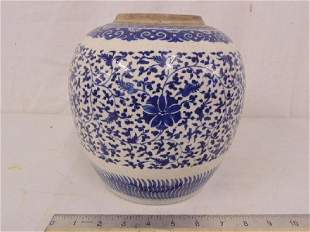 Chinese ginger jar blue white floral decorated no