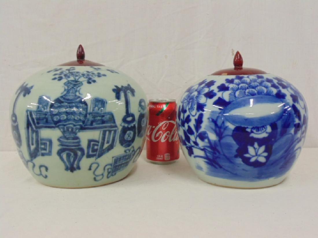 2 Chinese porcelain melon jar vases, blue & white