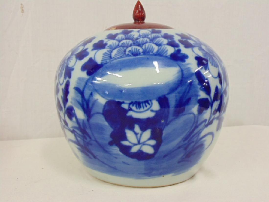 2 Chinese porcelain melon jar vases, blue & white - 2