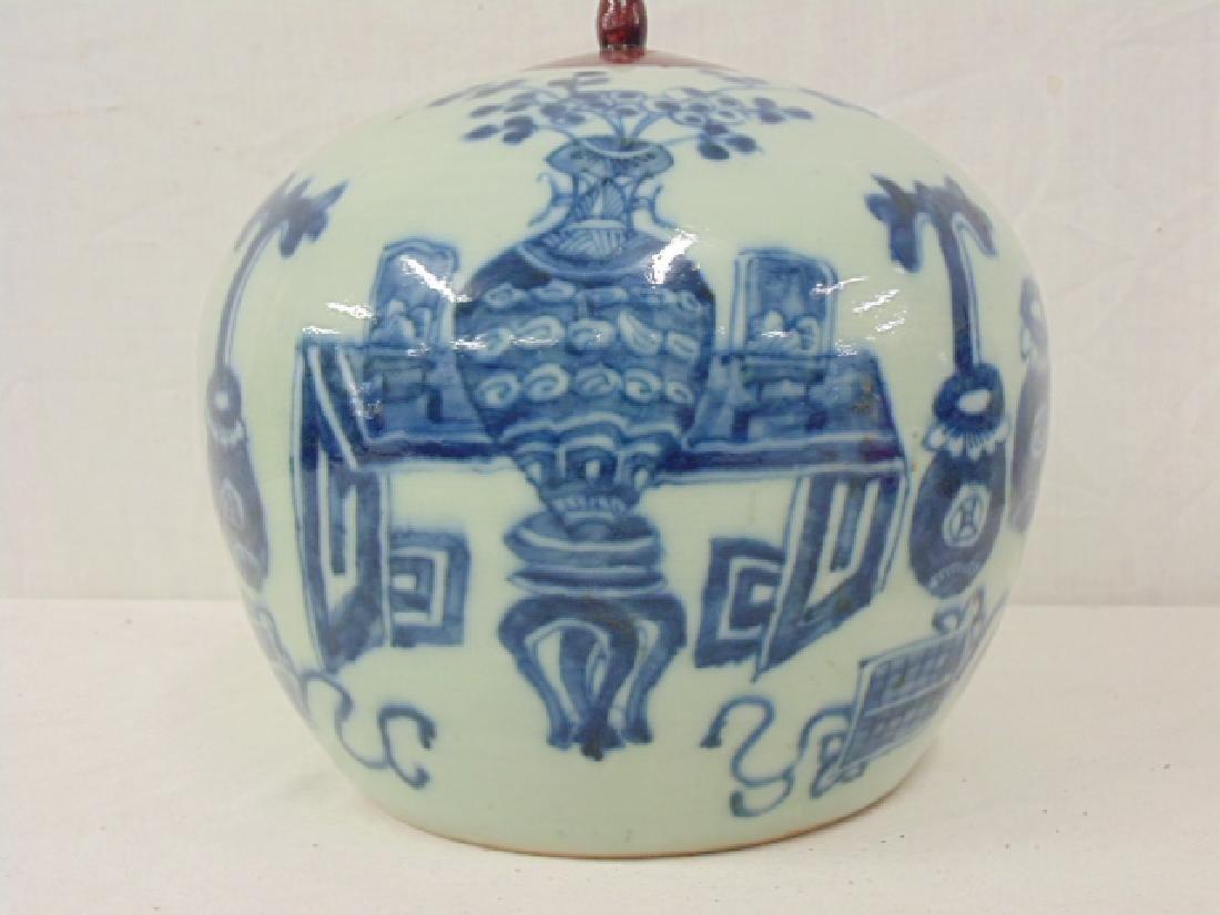 2 Chinese porcelain melon jar vases, blue & white - 3