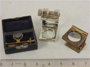 3 knot counters includes one brass in original case by