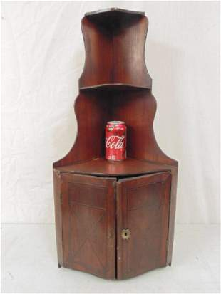 Small inlaid hanging corner cabinet 3025 tall 19th