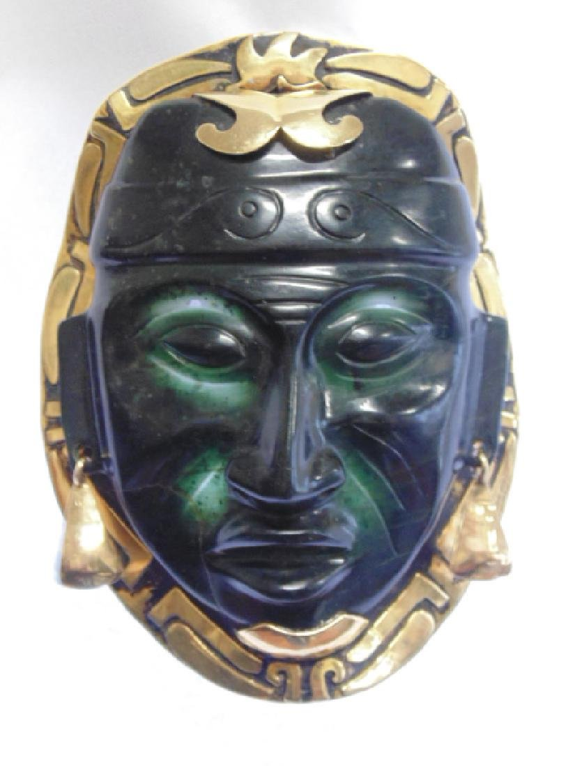 """18k Mayan pendant with jade face 8.4 grams 4 1/8"""" 3"""