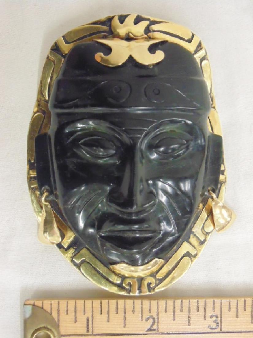 """18k Mayan pendant with jade face 8.4 grams 4 1/8"""" 3 - 2"""