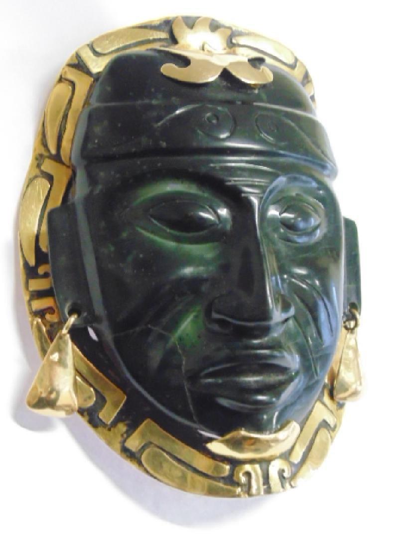 """18k Mayan pendant with jade face 8.4 grams 4 1/8"""" 3 - 3"""