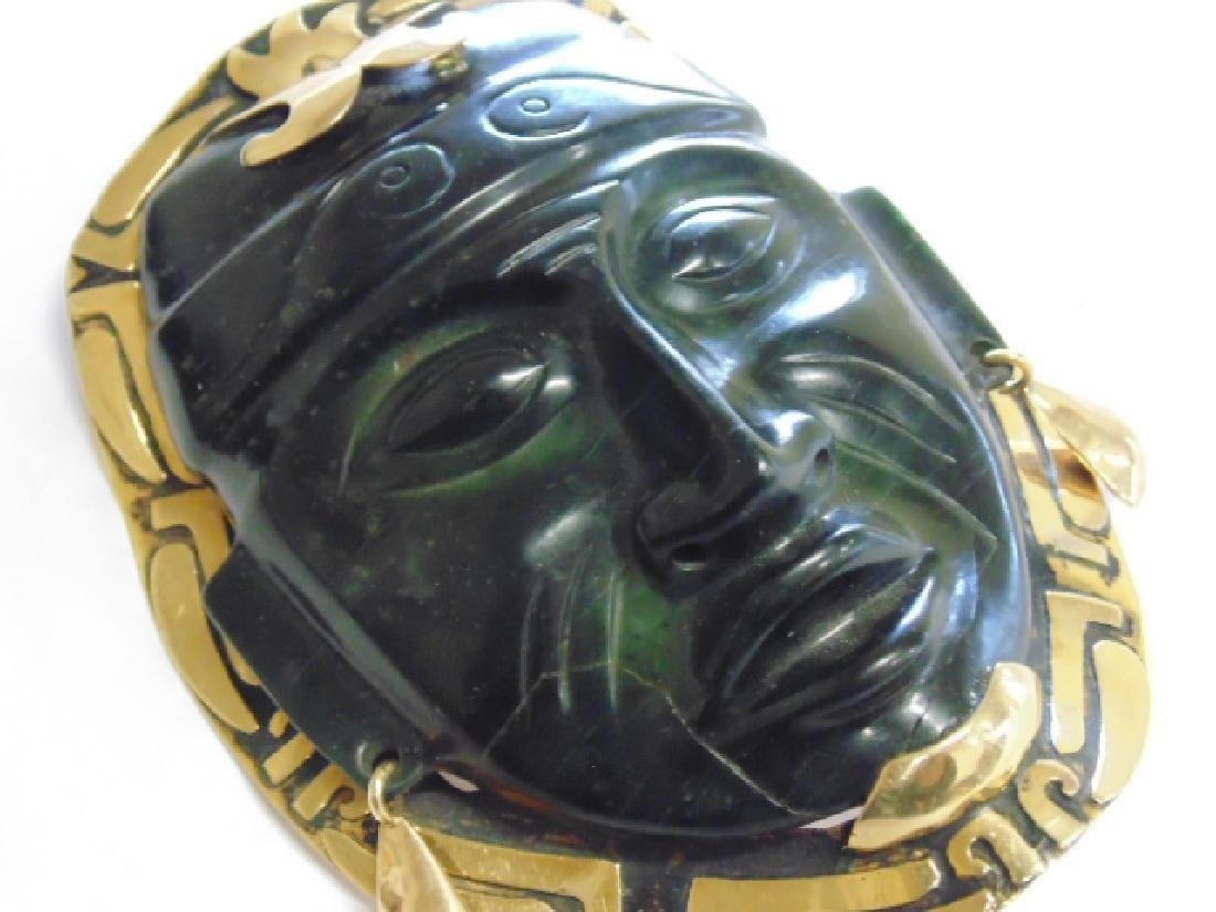 """18k Mayan pendant with jade face 8.4 grams 4 1/8"""" 3 - 4"""
