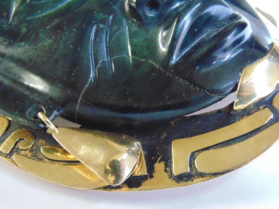 """18k Mayan pendant with jade face 8.4 grams 4 1/8"""" 3 - 5"""