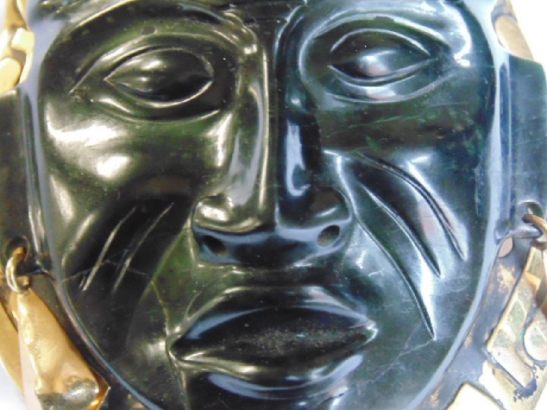 """18k Mayan pendant with jade face 8.4 grams 4 1/8"""" 3 - 6"""