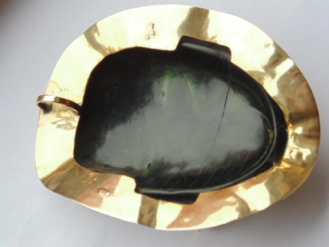 """18k Mayan pendant with jade face 8.4 grams 4 1/8"""" 3 - 7"""