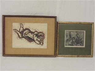Art lot drawing etching drawing of a figure signed