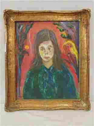 Painting portrait girl Milton Lunin titled The