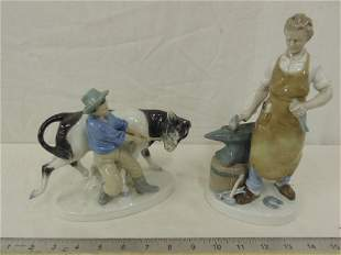 2 German porcelain figurines black smith man with
