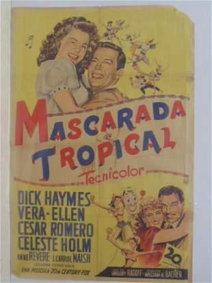 Vintage movie poster Mascarada Tropical Spanish