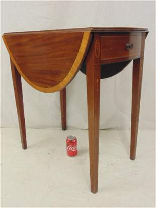 Small inlaid mahogany drop leaf table with drawer top