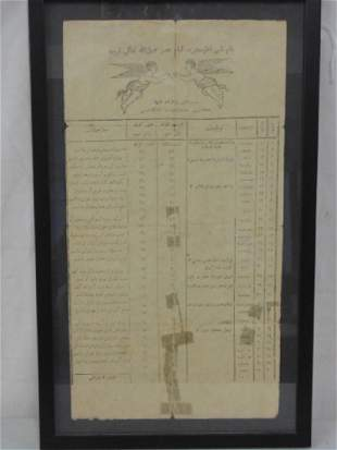 Persian Arab document top has illustration of two
