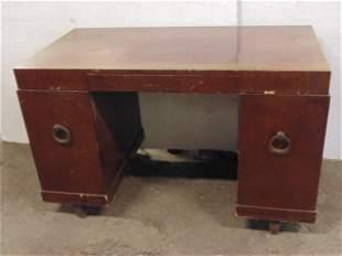 Style of Robsjohn Gibbings mahogany desk MCM