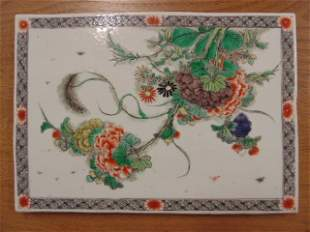Chinese, Asian porcelain tile with floral decoration