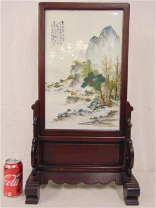 Chinese porcelain plaque on stand, painted porcelain