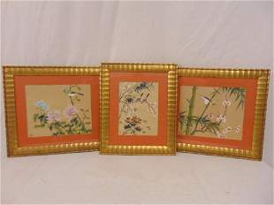 Paintings on silk floral birds 3 Asian paintings on