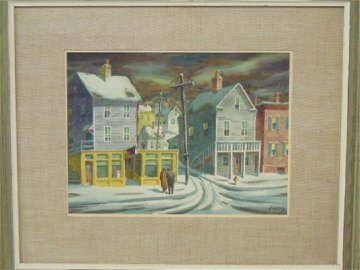 Painting, winter village scene, Henry Gasser,