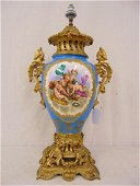 Sevres porcelain bronze mounted urn, a fine paint