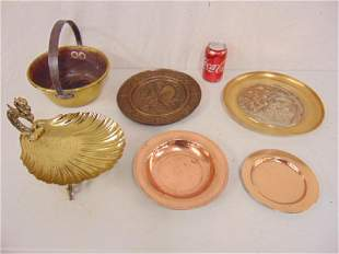 Lot brass copper decorative items includes 2 early