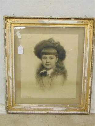 Drawing portrait girl by George Chickering Munzig