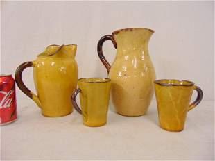 4 piece Vallauris French glazed pottery 2 pitchers 2