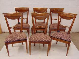 Set 6 carved wood Italian chairs caned seats with