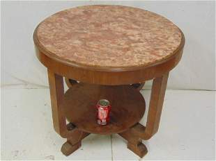 Deco marble top side table some veneer damage to feet